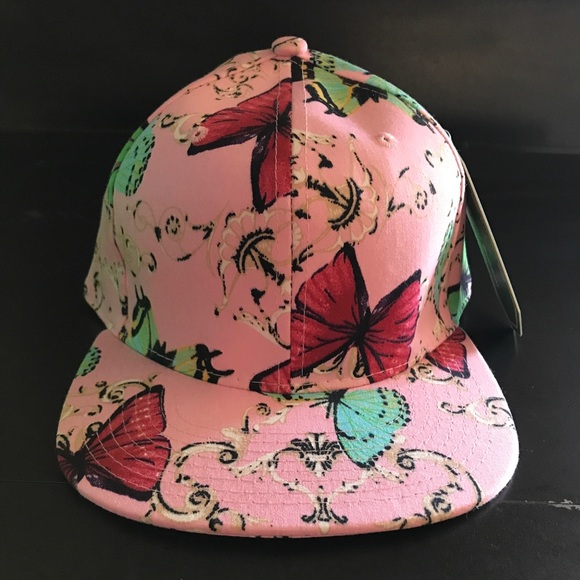 64561903bd9f59 Accessories | Light Pink Floral Butterfly Print Snapback Hat | Poshmark